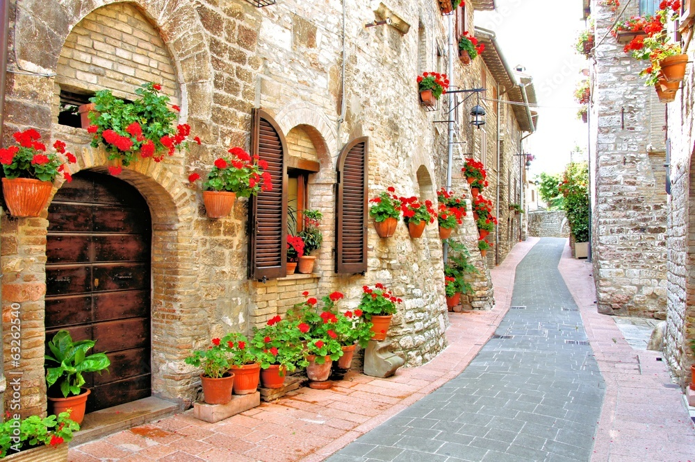 Fototapeta Picturesque lane with flowers in an Italian hill town