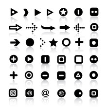 Set Of Different Simple Arrows And Symbols Buttons.