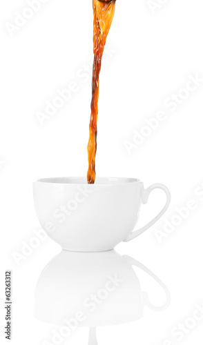 Pour coffee into cup, isolated on white