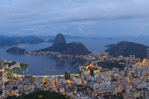 Poster  Rio de Janeiro view of Sugarloaf after sunset, Brazil