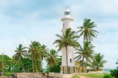 Garden Poster Lighthouse Lighthouse and palm trees in the town of Galle, Sri Lanka
