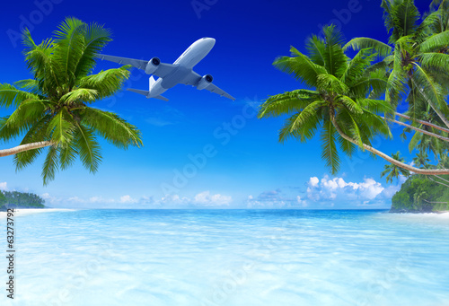 Staande foto Strand Airplane Flying Over Tropical Beach