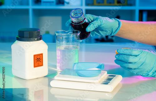 researchers work in modern scientific lab. Preparation of hazard Tapéta, Fotótapéta