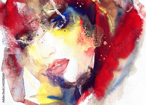 abstrakcyjny-akwarela-kobieta-portret