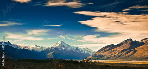 New Zealand scenic mountain landscape shot at Mount Cook Nationa Canvas Print