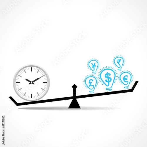 Compare Clock And Dollar Bulb Time Is Money Conceptual Vector
