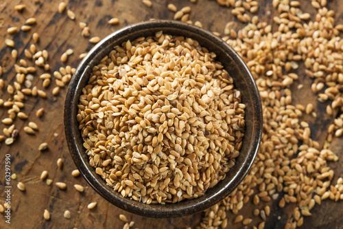 Fotografie, Obraz  Organic Raw Flax Seeds