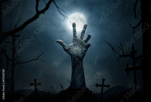 Halloween, dead hand coming out from the soil Fotobehang