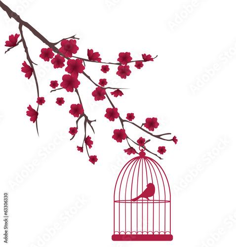 wektor-czerwony-ptak-w-klatce-na-drzewie-z-kwiatami