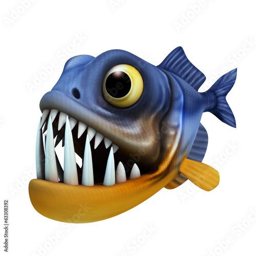 Fotografia, Obraz  cartoon of piranha