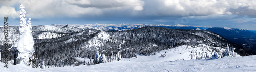 Winter Panorama of Big Mountain, Montana, USA