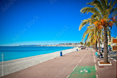 Photo sur Toile Nice Promenade des Anglais in Nice, France.