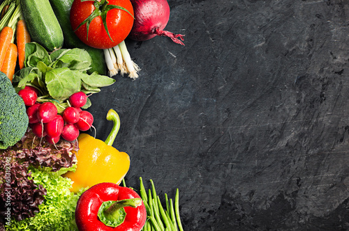 Vegetables on Blackboard
