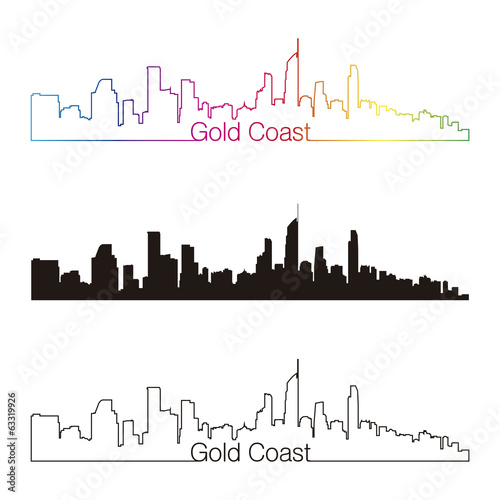 Gold Coast skyline linear style with rainbow Canvas-taulu