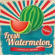 Colorful Vintage Watermelon Label Poster Vector Illustration