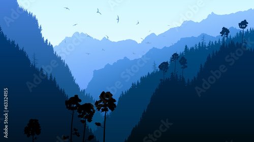 illustration-of-twilight-in-mountain-forest