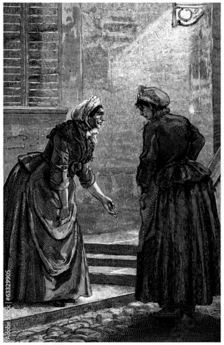 2 Peasants Talking - Commères - 19th century Canvas Print