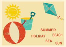 Vintage Postcard With Summer And Sea Related Elements 4