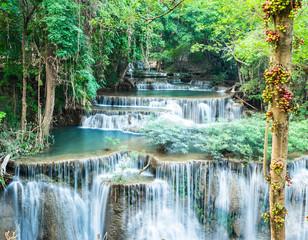 Fototapeta 3D Deep forest waterfall at Huay Mae Kamin, Kanchanaburi, Thailand