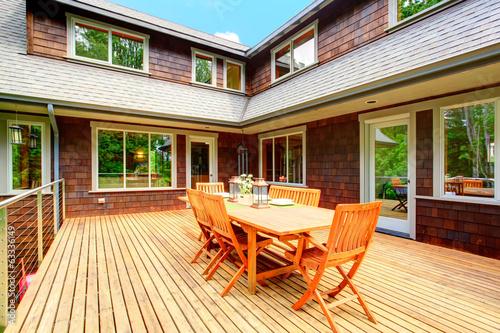 Fotobehang Tuin Backyard deck overlooking amazing nature landscape