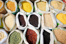 Sacks Of Healthy Legumes And G...