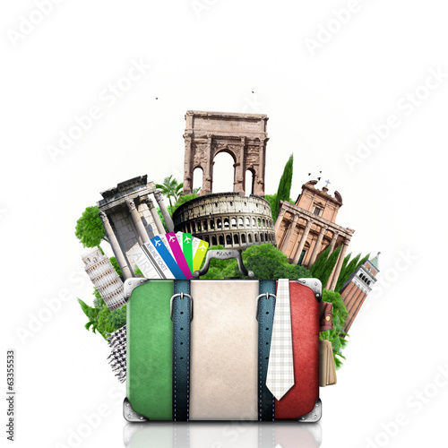 Canvas Prints Athens Italy, attractions Italy and retro suitcase, travel