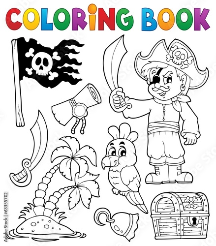 Wall Murals For Kids Coloring book pirate thematics 1