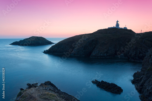 Stickers pour portes Phare Pembrokeshire Coast, colorful landscape