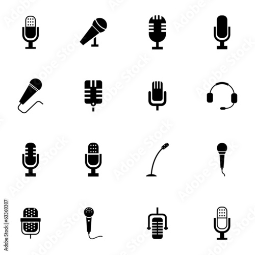 Slika na platnu Vector black  microphone  icons set