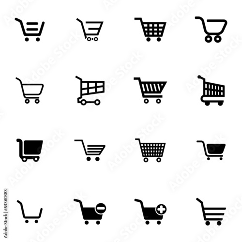 Vector black  shopping cart  icons set Fototapeta