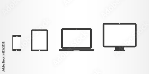 Fotografía  Device icons: smartphone, tablet, laptop and desktop computer