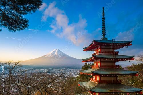 Papiers peints Japon Mt. Fuji viewed from Chureito Pagoda