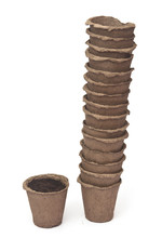 Pile Peat Pots For Growing Seedlings, Isolated On White Backgrou