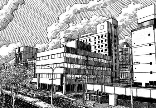 Japan urban city office buildibgs view drawing ink sketch style