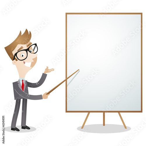 Fotografie, Obraz  Cartoon businessman explaining pointing blank white board