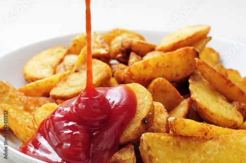 Fototapeta home fries with ketchup obraz
