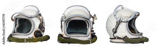 Keuken foto achterwand Nasa Set of space helmets isolated on a white background.