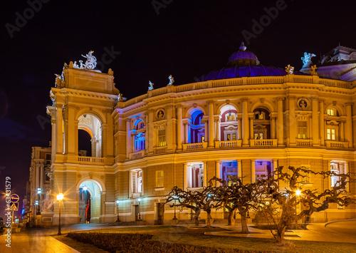 obraz lub plakat Odessa Teatr Opery i Baletu w nocy. Ukraina