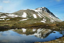 Small Pond With Mountain Refle...