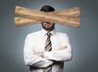 canvas print picture - Mann mit Brett vor dem Kopf