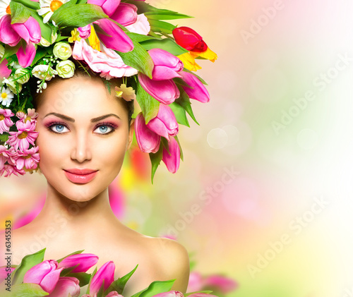 Fototapety, obrazy: Beauty summer model girl with colorful flowers hairstyle
