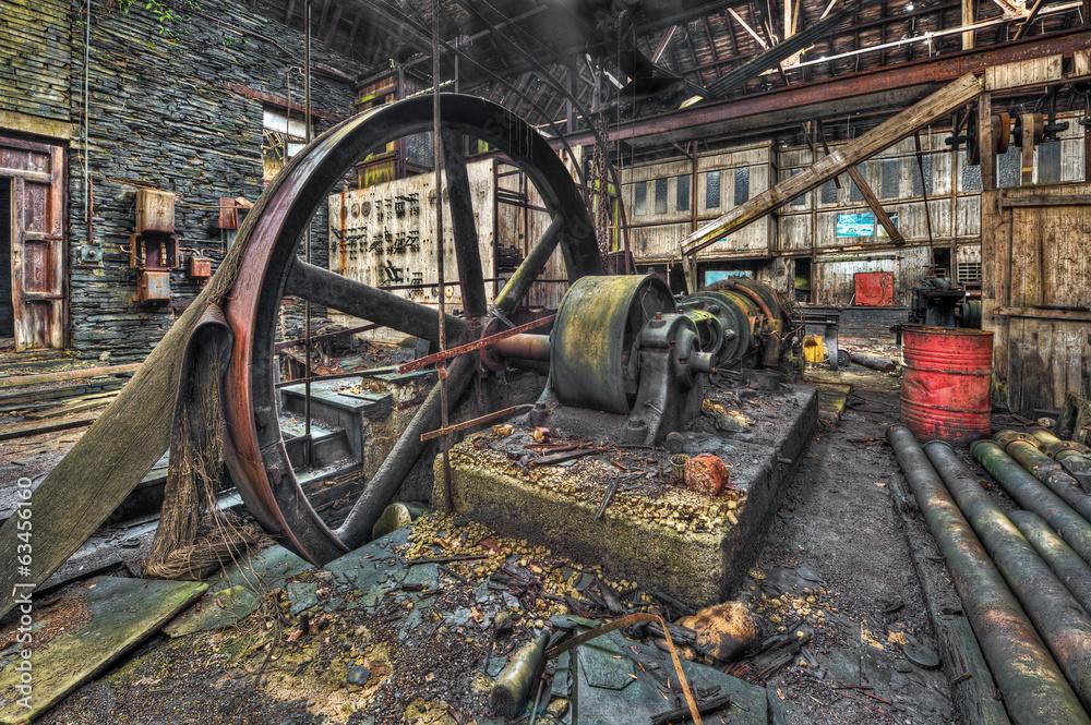 Photo & Art Print Old machinery in derelict workshop