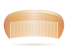 Wooden Hair Comb Isolated On White Background.