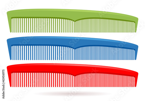 Foto Set of hair combs isolated on white background.
