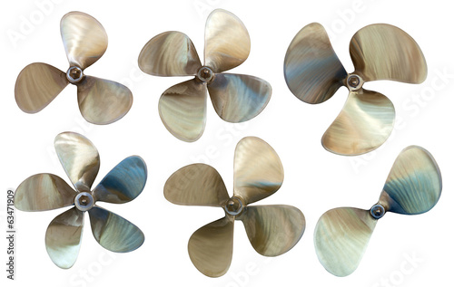 Fotografie, Obraz  Set of boat propellers. Isolated over white