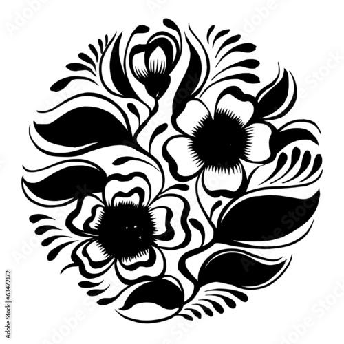 sylwetka-kolo-galaz-herbaty-z-kwiatami-i-liscmi