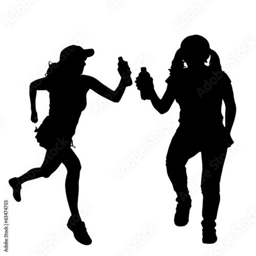 Deurstickers Dance School Vector silhouette of women.