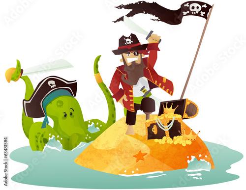 Pirate et île au trésor