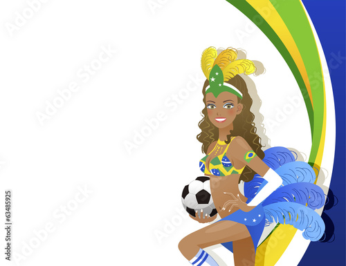 Fotografie, Obraz  ブラジル サッカー カーニバル Attractive Carnival dancer holding soccer ball