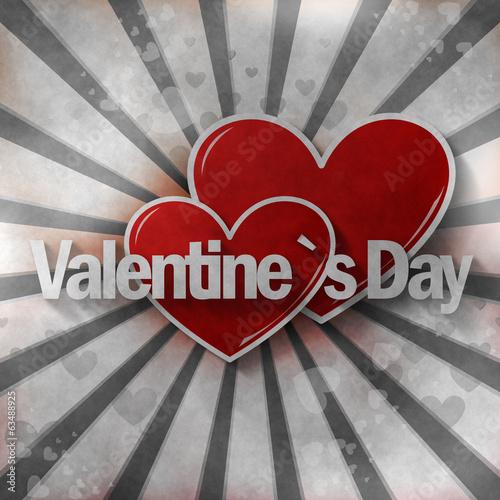 Poster Rouge, noir, blanc Valentine`s Day
